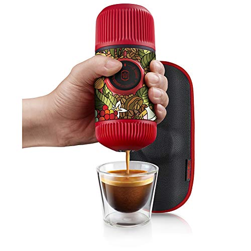 WACACO Nanopresso Portable Espresso Maker Bundled with Protective Case, Tattoo Jungle Patrol Edition, Extra Small Travel Coffee Maker, Manually Operated Perfect for Travel, Camping, Office(Red) by WACACO (Image #1)