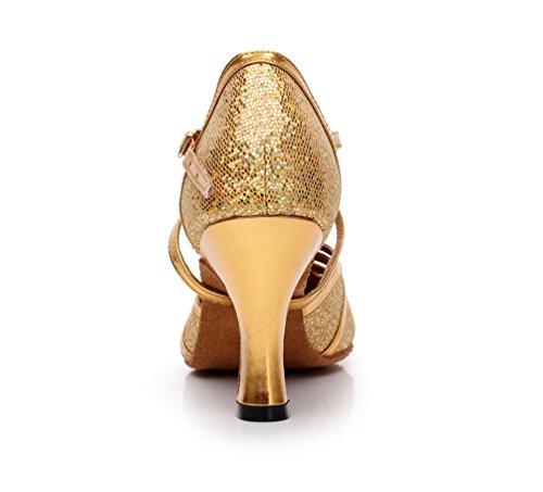 Kevin Fashion K6134 Womens Fashion Sparkle PU Leather Ballroom Latin Dance Pumps Gold nBR1i64R