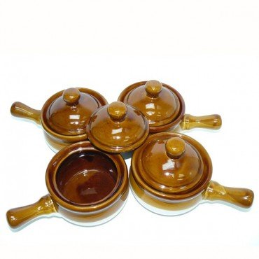 Four Covered Soup Crocks