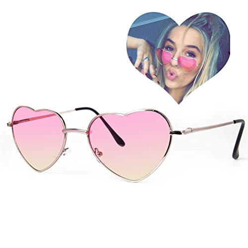Dollger Pink Heart Shaped Sunglasses Style Hippie Sunglasses for Women
