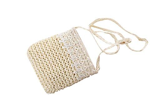 milk Messenger Handbag white Straw Cross Lace Bag Handmade Shoulder Boho Body Knitted Cute aCWqUnUp
