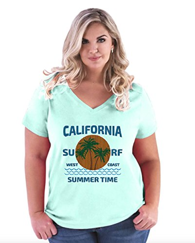 Womens California V-neck T-shirt (NIB California T-Shirt Knit Cali Surf West Coast Home Of Los Angeles Women's Plus Size V-Neck Tee)