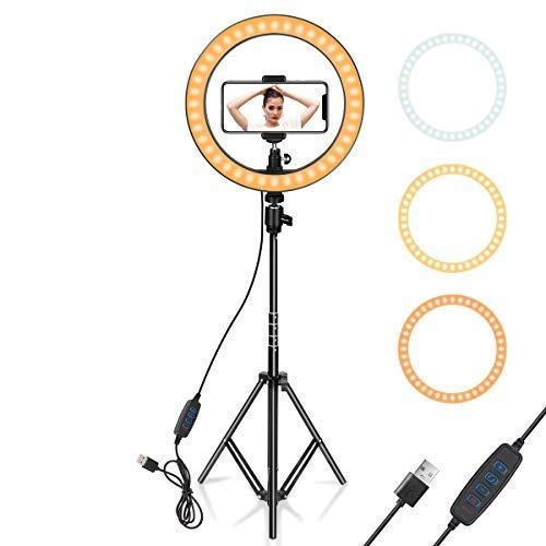 10 Inch Selfie Ring Light, 3 Lights Color USB Adjustable LED Ring Light with 7.5 Feet Tripod Stand & Cell Phone Holder for YouTube Video and Live Makeup Photography with Bag