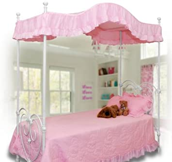 pink canopy bed cover twin size pink