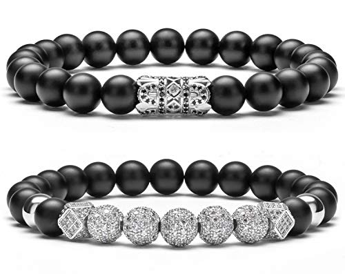 Hamoery 8mm Black Matte Charm Bracelet for Men Women Silver Zircon Accessories Beads Bracelet(Silver Set)