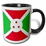 3dRose (mug_158272_4) Flag of Burundi - East Africa - African country world flags - Burundian red green white with 3 stars - Two Tone Black Mug, 11oz