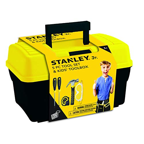 (Stanley Jr.. - Tool Box and 5 pcs Set of Tools, Tool Set Ages 5+ (TBS001-05-SY), Mixed)