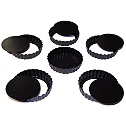 Stately Kitchen's Commercial Grade Non Stick Removable Bottom 5 Inch Mini Quiche Pans / Mini Tart Pans (6 - Pack)