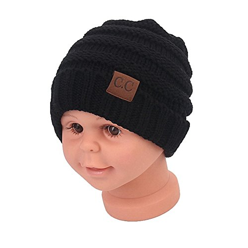 Price comparison product image Sechunk Baby Boy Winter Warm Hat, Infant Toddler Kids Beanie Knit Cap for Girls and Boys [0-5years] (Black)