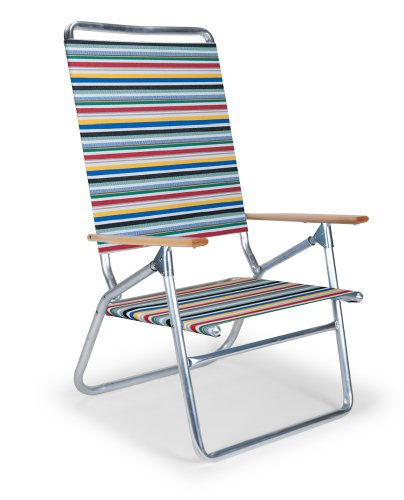 Telescope Casual Light and Easy High Boy Folding Beach Arm Chair, Classic Stripe by Telescope Casual