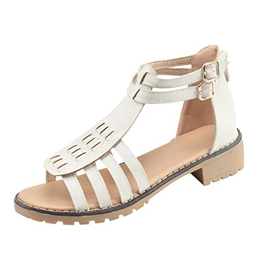 (Dressin Summer Shoes Women's Fashion Bohemian Low Heel Solid Sandals Casual Roman Sandals White)