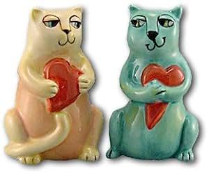 Ursula Dodge Cat Salt & Pepper Shakers (Holding Hearts)