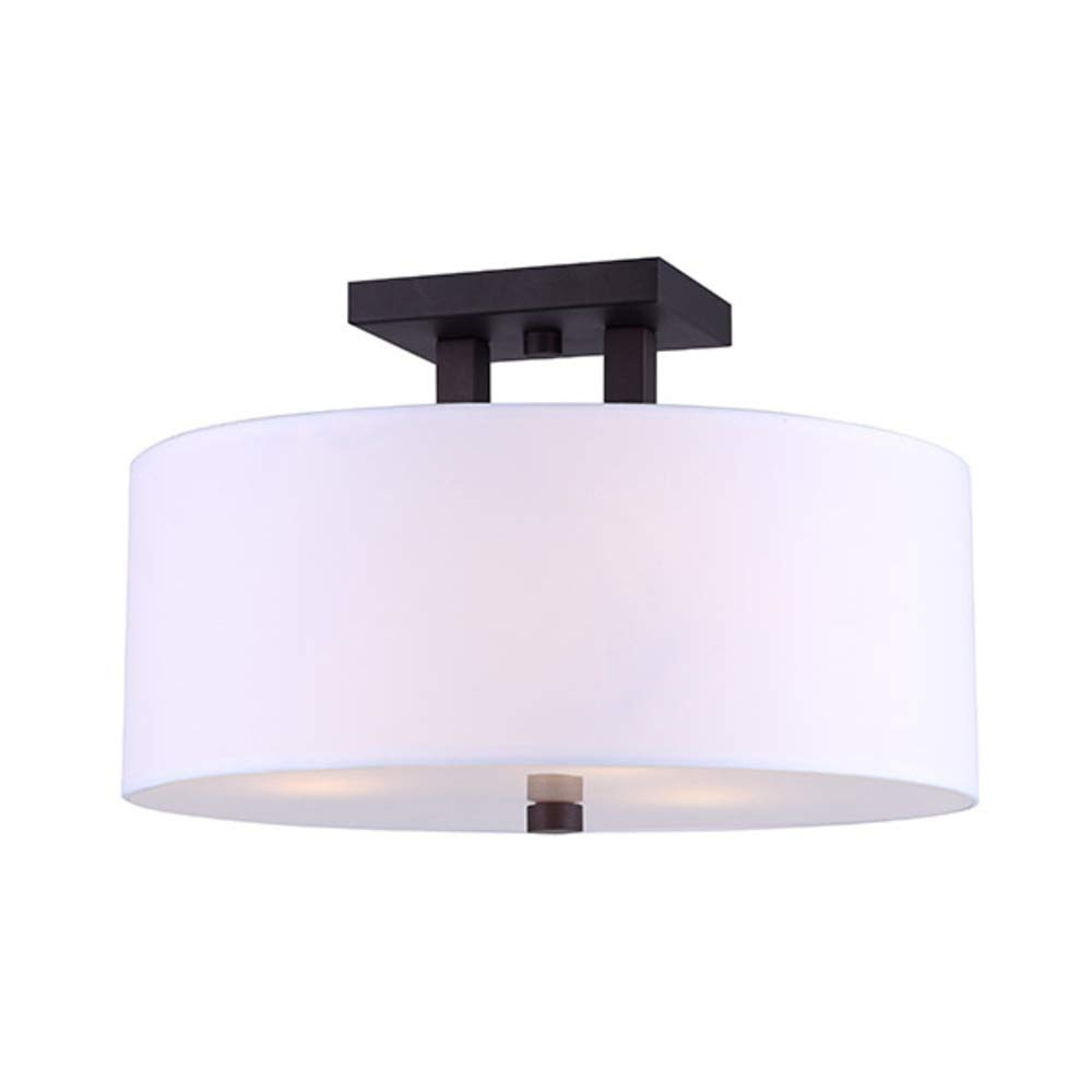 CANARM ISF578A03ORB River Semi-Flush Mount Oil Rubbed Bronze with White Fabric Shade and Glass Diffuser