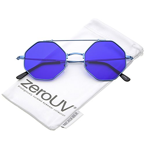 zeroUV - Modern Ultra Slim Metal Crossbar Colored Flat Lens Octagon Sunglasses 52mm (Blue / - Octagon Frame