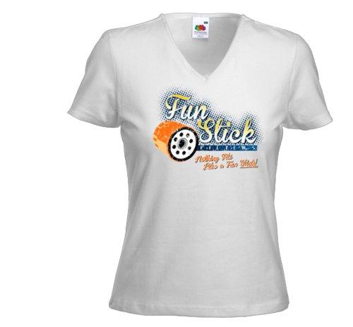 Damen T-Shirt Hot Rod Fun Stick weiß Rockabilly Pinup Custom Gr. S