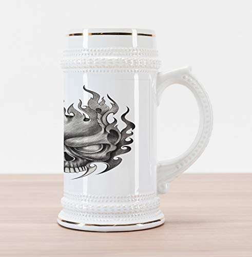 Lunarable Tattoo Beer Stein Mug, Sinister Skull Face Head Mask with Teeth Horror Theme in Sketch Style Evil Punk Rock Print, Traditional Style Decorative Printed Ceramic Large Beer Mug Stein, Grey]()