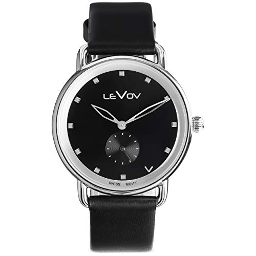 Levov Watch - Executive Mens Watch - Swiss Movement Quartz Watch for Men - 38mm Stainless Steel Case with Blue Dial - 18mm Genuine Leather Watch Band (Stainless Steel Watch Mens Executive)