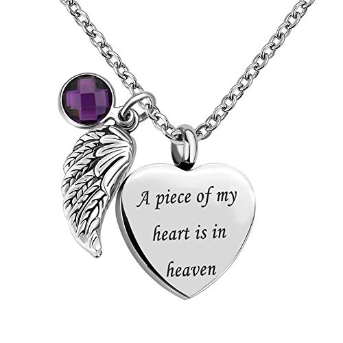 Infinite Memories - A Piece of My Heart is in Heaven - Love Heart Angel Wing Crystal Urn Necklace Ashes Pendant FEB. Birthstone