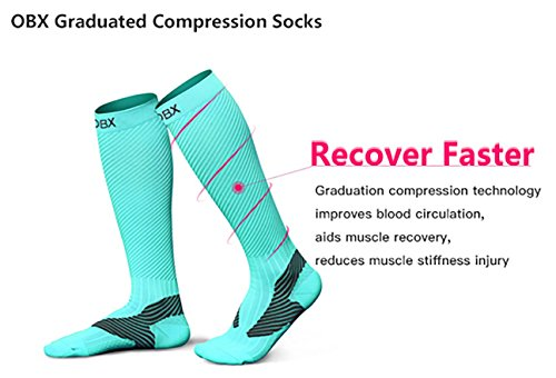 OBX Compression Socks for Men & Women-Professional Fit for Ruining&Racing-Knee High Socks for Athletics,Marathon,Travel,Shin Splints,hiking&Outdoor sports-Best for Muscle Recovery(1 pair) by OBX (Image #3)