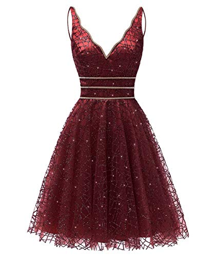 Dress Short Gown (Women's Tulle Prom Gown Short Homecoming Dresses Crystal Sparkle Party Dresses(Burgundy,10))