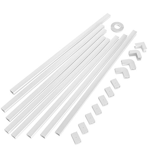 "One-Cord Channel Cable Concealer - CMC-03 Cord Cover Wall Cable Management System - 125"" Cable Hider Raceway Kit for a Power Cord, Ethernet Cable, Speaker Wire - 8X L15.7in, W0.59in H0.4in, White"