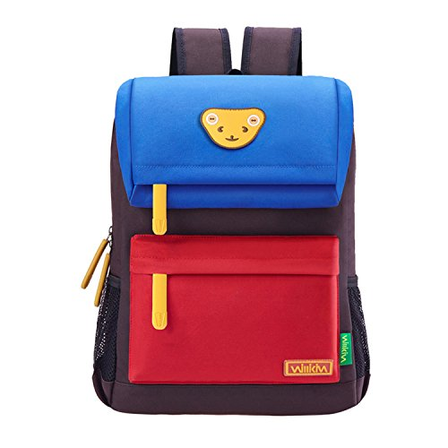 Willikiva Cute Bear Kids School Backpack for Children Elementary School Bags Girls Boys Bookbags (Azure/Red/Coffee, Large)