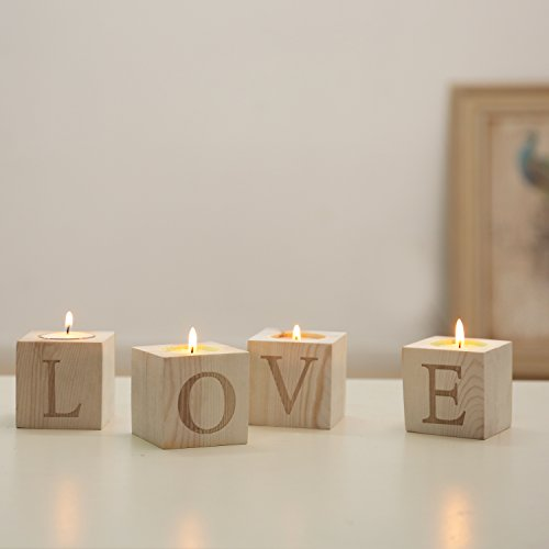 Set of 4 Natural Wood Block LOVE Tea Light Candle Holders, Decorative Wooden Letter (Wood Block Decor)