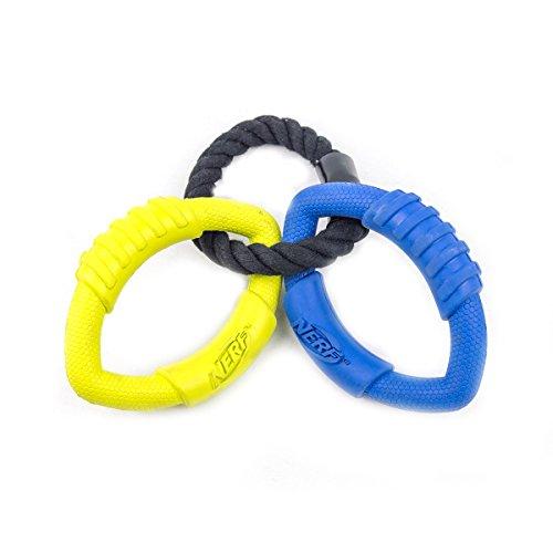 Nerf Dog Medium to Large 3-Ring Tug Interactive 9-Inch Rubbe