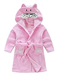 Yober Kids Little Boys Girls Coral Fleece Bathrobe
