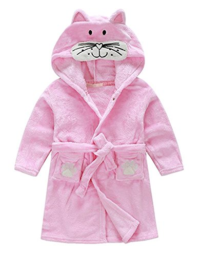 Kids Hooded Terry Robe Fleece Bathrobe Children's Pajamas Sleepwear(Pink cat, 5-6T(Height:47.2