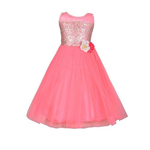 Aarika Girl's Hot Pink Self Design Net Gown with Hairband (2822-H-PINK_32_9-10 Years) by Aarika