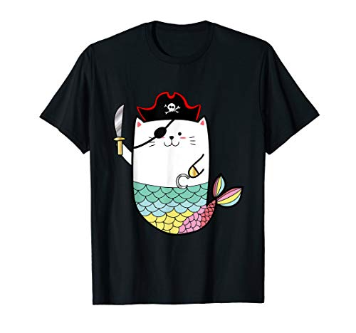 Halloween Mermaid Pirate Cat T-shirt