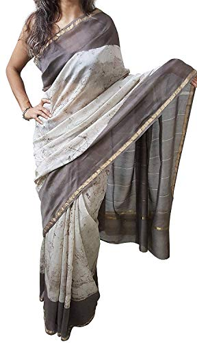 Mehrunnisa BAGRU MAHESHWARI Cotton Silk Saree with Blouse Piece from Jaipur (Brown Beige Batik)