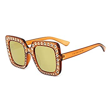 Burenqi Neue Luxusmarke Designer Damen große quadratische Sonnenbrille Frauen Diamond Rahmen Spiegel Sonnenbrille für weibliche Schattierungen, G
