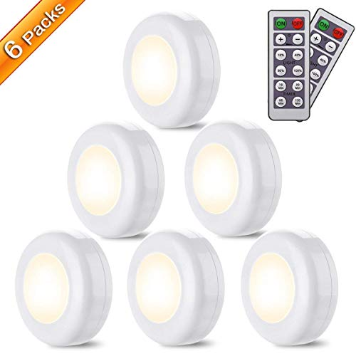 LED Closet Lights Elfeland Battery Powered Push Light with Remote Control Timer Function Brightness Adjustable Wireless Puck Lighting for Cabinet Kitchen Hallway Bedroom Counter(Warm White, 6 Pack)
