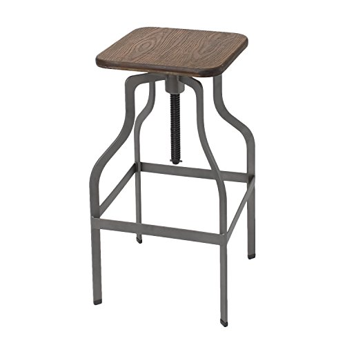 Adeco Industrial Chic Retro Style Swivel Adjustable Height Barstool Bar Stool, Metal Steel with Anti-rust Stainless Coating Wood Seat, for Lounge Cafe Restaurant Pub Counter Kitchen Island