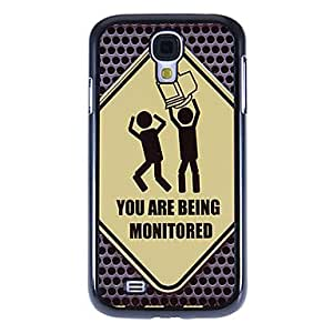 PEACH-Warning Pattern Mirror Smooth Back Hard Case with HD Screen Film 3 Pcs for Samsung Galaxy S4 I9500