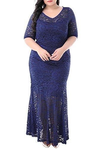 Nemidor Women's Half Sleeve Bodycon Fishtail Floral Lace Plus Size Maxi Dress (Navy, 24W)