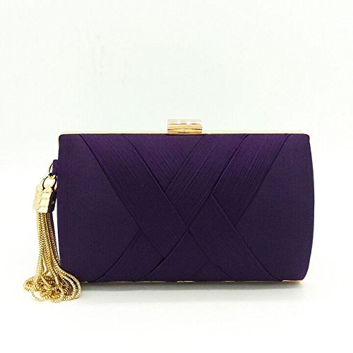 Bar Spalla Evening Ladies Bridal Borsa Fashion Banquet Donna Personalità Silk Bags Pochette Trend YUEER Purple Black Sacchetto Incontri Clutch Joker qRAFx6C