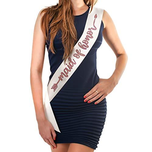 (Bridal Shower Bride&Bridesmaid Gift Bachelor Party Rose Gold Glitter Sash D#1 Maid of Honor White Sash )