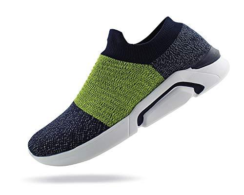 - Jabasic Mens Knit Atheletic Walking Shoes Lightweight Easy Walk Slip On Sneakers (13 B(M) US, Navy/Green)