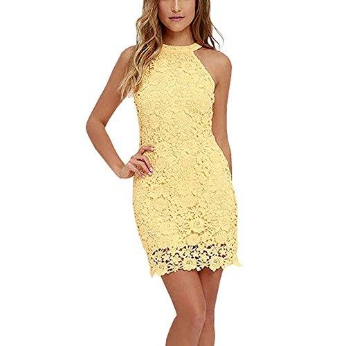 Fedi Apparel Women's Halter Neck Wedding Dress Midi Lace Party Cocktail (Yellow Halter Gown)