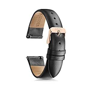 Women's Watch Bands, Women's Leather Watch Bands, 14mm, 18mm Easy Interchangeable Watch Band, Quick Release Pin, Rose Gold Buckle, Fits Many Brands (14mm, Black)