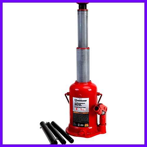 (Hydraulic High Lift Ram Bottle Jack Double 12 Ton Capacity Premium Quality High Grade Steel - House)