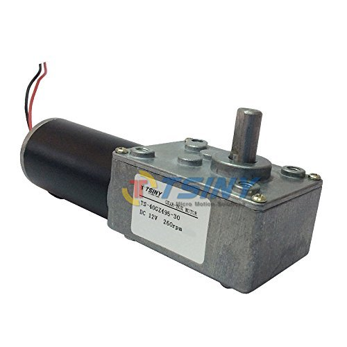 TSINY Reversible 12V Electrical DC Worm Gear Motor 260 RPM High Speed with Metal Geared Box Reducer Output Shaft 8mm by DC Worm Gear Motor