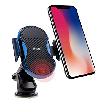 SMAZA Car Mount Wireless Charger Infrared Sensing Qi Charging for iPhone Note Samsung Dash Windshield Other Devices Air Vent Wireless Hands Free