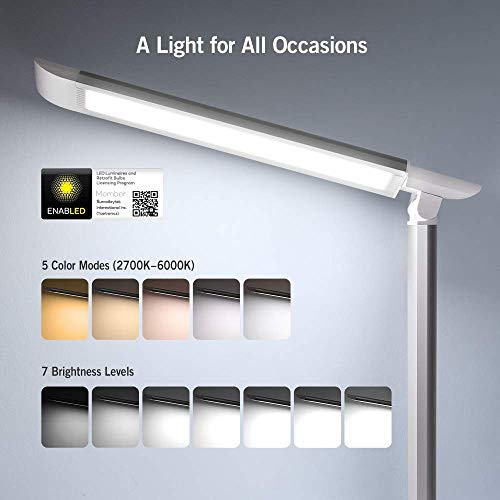 TaoTronics LED Desk Lamp, Eye-caring Table Lamps, Dimmable Office Lamp with USB Charging Port, 5 Lighting Modes with 7 Brightness Levels, Touch Control, White, 12W, Philips EnabLED Licensing Program by TaoTronics (Image #2)