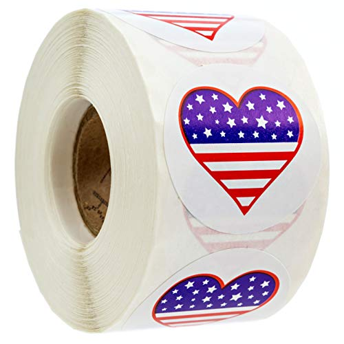 500 American Flag Heart Design Stickers (Perforated) / 1.5