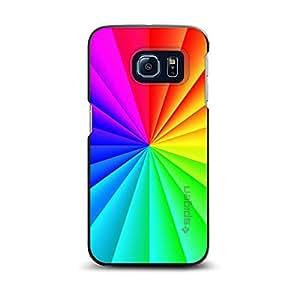 CUSTOM Black Spigen ThinFit Case for Samsung Galaxy S6 EDGE - Rainbow Swirl Geometric