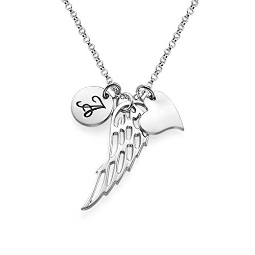 - Custom Personalized Necklaces Angel Wing Necklace Pendant Christmas Gift Valentines Gift(silver 14